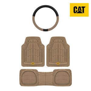 Steering Wheel Cover + Heavy Duty All Weather Universal Floor Mats / Liner (3pc)