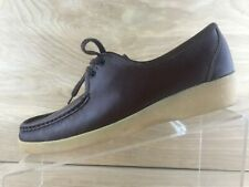 Clarks Womens Brown Leather Lace Up Moc Toe Loafers Size 7.5N Made In Italy