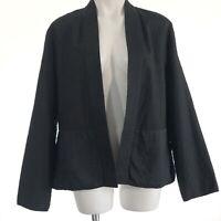 Eileen Fisher Womens 100% Silk Open Front Lightweight Jacket Black Size XL