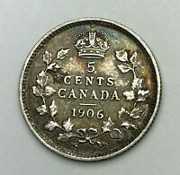 Dated : 1906 - Silver Coin - Canada - Five Cents - 5 Cent Coin - King Edward VII