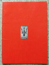 MASERATI CARS Sales Literature 1979 KHAMSIN Kyalami QUATTROPORTE Merak 2000/SS