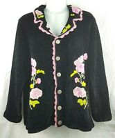 Storybook Knits Cottagecore Chenile Floral Embroidered Collared Cardi Sweater M
