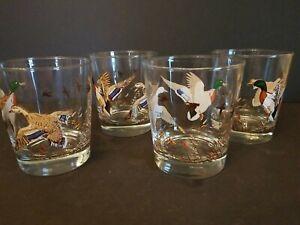 Set Of (4) Vintage Wildlife Mallard Ducks Libbey Highball Drinking Glasses MINT!
