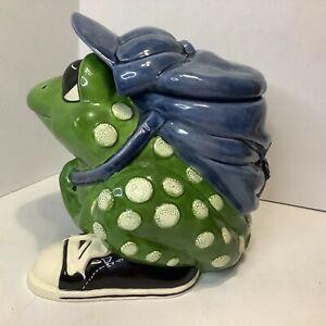 Vintage Spotted Frog Cookie Jar with Backpack Sneakers