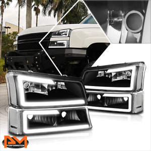 For 03-07 Chevy Silverado/Avalanche LED DRL Bumper Headlight/Lamp Black/Clear