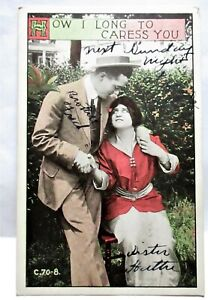 1910 POSTCARD HOW I LONG TO CARESS YOU, MAN WITH ARM AROUND WOMAN