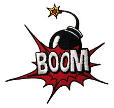 Boom! Sound of an Explosion Bomb Embroidered Iron on Patch Free Shipping