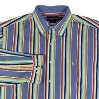 Ralph Lauren Classic Fit Button Down Shirt Mens Sz 17 XL Striped Rainbow Blue