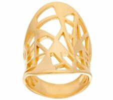 BRONZO ITALIA YELLOW BRONZE CONCAVE OVAL GEOMETRIC CUT-OUT BAND RING SIZE 6 QVC