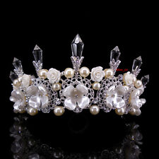 8cm High Huge White Flower Pearl Crystal Wedding Bridal Party Pageant Prom Tiara