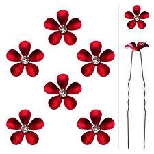 6 épingles pics cheveux chignon mariage mariée fleur métal rouge cristal blanc