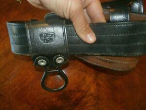 Vintage Bianchi B1 Black Leather Police Service Utility Belt w/ Holders