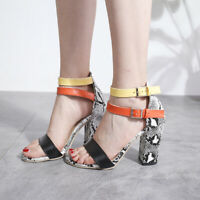 Women Summer Buckle Block High Heels Sandals Open Toe Ankle Strap Shoes Big Size