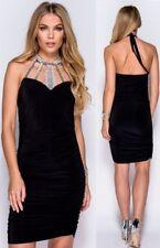 miniabito vestito Tubino donna nero scollatura con strass elegante sexy