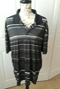 Nicklaus Golf/Polo Short Sleeve Shirt  Size XL  Black/White Stripe