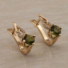 Gorgeous Green Peridot Fashion Jewelry Gift Gold Filled Huggie Earrings er1401
