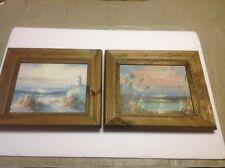 Original Oil On Board Lighthouse Seascapes By Artist Kent Set Of Two Framed