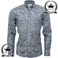Relco Mens Platinum Blue Floral Paisley Long Sleeve Shirt Button Down Collar NEW