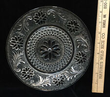 """Indiana Glass Salad Plate Tiara Pattern 8"""" Vintage Clear Floral Scroll Flower"""