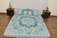 Indian Mandala Quilt Duvet Set Doona Cover 100% Cotton Bedding Pillow Pair UK
