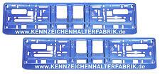 2 Stück Kennzeichenhalter Chrom BLAU mit WUNSCHTEXT Nummernschildhalter Satz NEU