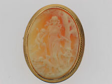 Antique Very Fine 14k yellow gold Angels Cameo Exquisite carving.