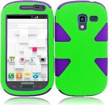 For Samsung Galaxy Exhibit T599 IMPACT TUFF HYBRID Case Skin Cover Green Purple