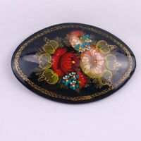 Vintage Russian Wood Lacquer Brooch Pin Floral Signed Artist Pin Oblong