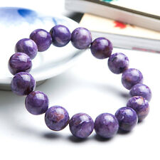 Natural Purple Charoite Gemstone Round Beads Woman Bracelet 13mm AAA