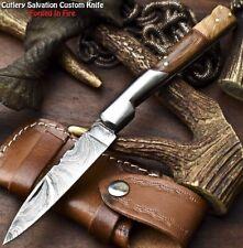 Custom Handmade Damascus Pocket Back-Lock Pocket Folding Knife | WALNUT WOOD