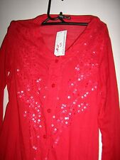LADIES LONG SLEEVE RED BLOUSE WITH SEQUINS SIZE 8