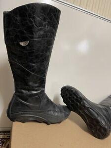 ecco womens black Soft  leather boots size uk 4 eu 37