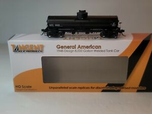 Tangent HO Gen American 1948 Design 8,000 Gallon Welded Tank Car GATX Black 1948