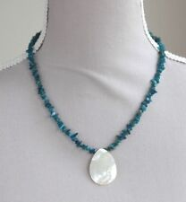"NEON BLUE APATITE & WHITE SHELL NECKLACE 19"" LENGTH SILVER PLATED"