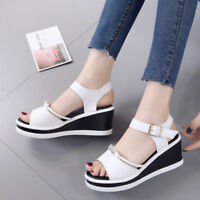 Women's Fish Mouth Casual Sandals Shoes Wedge High Heel Platform Buckle Beach