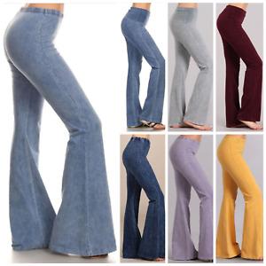 Chatoyant Bell Bottom Hippie Flare Stretch Denim Effect Pants Yoga Plus S-3X