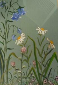 Vintage Watercolor Painting Flowers Mid Century Modern Framed Floral Art 1955