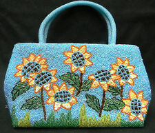 Beaded Sunflower Handbag Purse w Hand-Sewn Beads & Sequins - DAZZLING!
