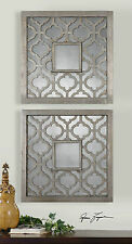 """TWO MODERN 20"""" ANTIQUED SILVER LEAF SQUARE WALL ART MIRRORS BLACK UNDERTONE"""