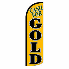 Windless Swooper Feather Flag Tall Banner Sign 3 Wide Cash For Gold Black Gold