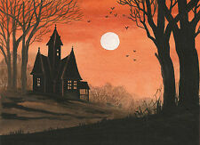 5x7 PRINT OF PAINTING HALLOWEEN FOLK RYTA HAUNTED HOUSE GOTHIC VINTAGE STYLE