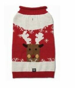 Petrageous Blitzens Sparkle Reindeer Dog Pet Sweater Coat Knit Pom Pom CHRISTMAS