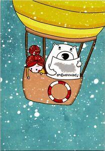 Redhead Girl White Teddy Bear Balloon Greenland Artist Signed Animal Postcard