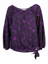 Anne Klein Women's Printed Knotted Hem Top M, Black/Orchid Multi
