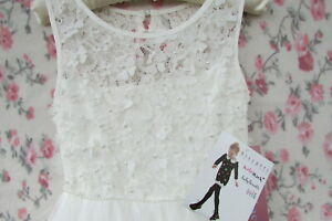NWT Ivory Floral Flower Girl Bridesmaid Party Occasion Dress 9-10 KATE MACK £129