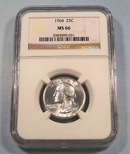 1964 NGC MS66 WASHINGTON QUARTER 25c MS 66