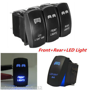 3pc 5Pins Front&Rear&LED Light Laser Rocker Backlit Switch For Car Truck SUV UTV