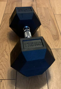 2x 17.5kg HEX DUMBBELL Commercial Gym Rubber Pro Weights BOXED UK NEW Dumbell