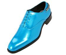 Bolano Mens Turquiose Patent Formal Oxford w/ Silver Chain on Heel: Chainz-025