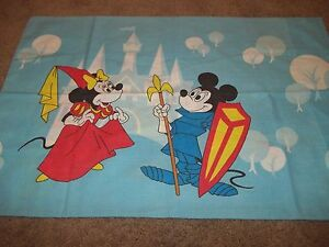 Set of 2 Vintage Disney Mickey Mouse Minnie Character Pillow Cases {Fabric}